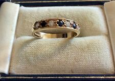 Beautiful Ladies Vintage Fully Hallmarked 9CT Gold White Stones & Sapphire Ring