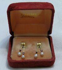 Pearl Ruby Earrings 14K Gold Pierced Ears Vintage 4 Rubies 4 Pearls