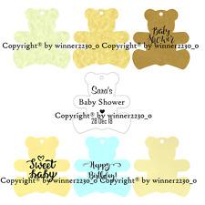 12 Personalised Teddy Bear Shape Gift Swing Tag Bomboniere Birthday Baby Shower