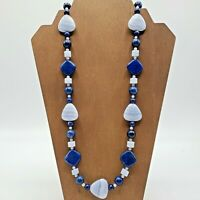 Jay King Lapis Blue Lace Agate Sterling Silver Long Necklace 925 Sterling Silver