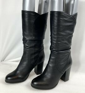 Red or Dead Women's Ladies size 7/40  Black Leather Pull On Mid Calf Boots.