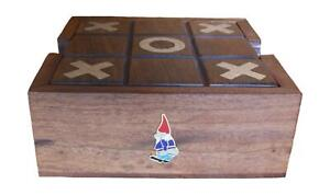 Mooning Gnome Wooden Tic Tac Toe Solitaire Game FREE ENGRAVING 497