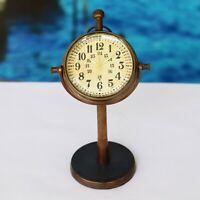 Antique Vintage Style Brass Desk Clock Quartz Desktop Decorative Gift