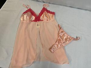 New Vintage Shiny Liquid Satin String Bikini Thong Panties M 8/10 Babydoll Pink