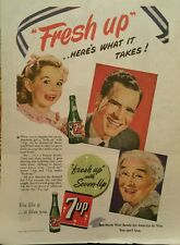 """1943 7 Up soda glass bottles """"fresh up"""" smiling faces young old  ad"""