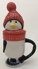 Pfaltzgraff Penguin Skate Lidded Figural Coffee Cocoa Mug Cup 11 Oz Xmas