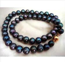 tahitian natural round black GREEN pearl necklace 18inch stunning 9-10mm