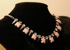 Rhinestones and Spikes Pink Drop Necklace 5055