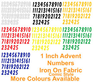 """ADVENT IRON ON DIE CUT FABRIC (COMIC) NUMBERS ! 1-25!! Size 1"""" Crafts/Christmas"""