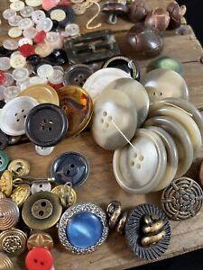 Lot Antique Vintage BUTTONS Bakelite Metal Wood NICE VARIETY Almost 2 lbs