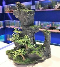 Bonsai Grey Rock Formation With Plant Aquarium Ornament MS952