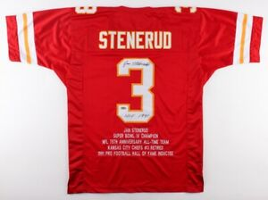 Jan Stenerud Signed Chiefs Career Highlight Stat Jersey Inscribd HOF 1991 (MAB)
