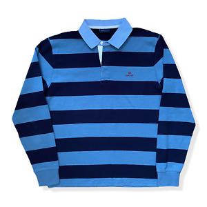 "Vintage GANT Rugby Shirt | Large L | Navy & Blue Striped Jersey 44"" Chest"