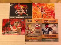 PATRICK MAHOMES MVP KANSAS CITY CHIEFS 5 CARD SET ROOKIE CARDS