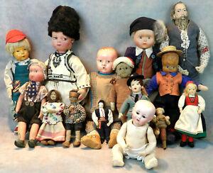 Lot Of 15 Antique & Vintage Character Folk Dolls Germany Japan Bulgaria Romania