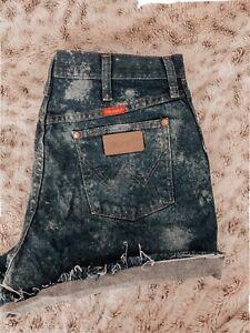 VTG RETRO SHORTS \u03df Wrangler Vintage Mid Length Cut Off Upcycled Remade Dark Denim  Bottoms