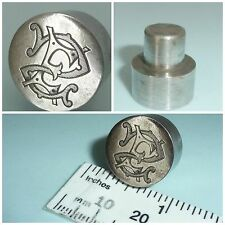 Antique Edwardian steel intaglio seal Printing Block entwined Initials E S