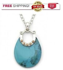 "Sterling Silver & Bronze Genuine Turquoise Round Pendant 18"" necklace"
