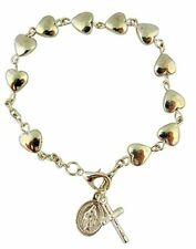 Girls First Communion Silver Tone Heart Shape Bead Miraculous Rosary Bracelet