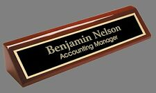 Engraved Desk Name Plate - Rosewood Block - Black Brass Plate (PNA210)
