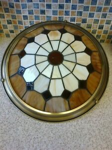 CEILING LEADED GLASS LIGHT SHADE BROWN RED & WHITE (NO ELECTRICIAN NEED WIRING)