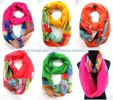 US SELLER , 10PC geomatric colorful circle loop Gift for her Infinity Scarves