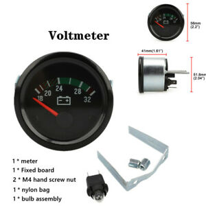 "1PC 2""/52mm Car Auto Truck Black Gauges Voltmeter Instrument Gauge Universal"