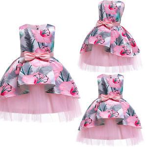 Kids Flower Girls Princess Tutu Tulle Dress Wedding Bridesmaid Party Ball Gown