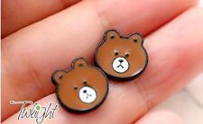 cute coffee brown bear  metal earring ear stud earrings 2PCS anime Studs new