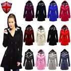New Ladies Hooded Button Belted Trench Coat Plus Sizes Fleece 007 Jacket TOP UK