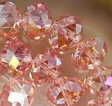 70 Pink AB Crystal Glass Faceted Rondelle Loose Beads 6X8mm