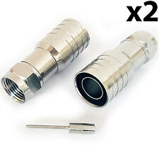 2x PRO Outdoor CT165/WF165 F-Type Male Hex Crimp Connector Plug–Thick Coax Cable
