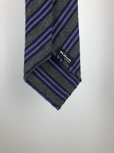 Kiton Napoli Cashmere Wool Silk Striped Neck Tie