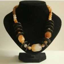 Transparent Gradient Orange bead with large seedbeads Necklace