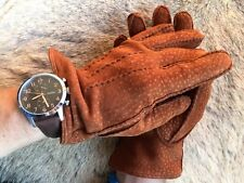 Leather Gloves for men's with cashmere lining Carpincho Suede Peccary Leather