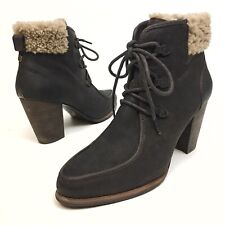 UGG Boots Brown Leather Ankle Booties Heels Sz 10 Eu41 Laces Fashion Apron Toe
