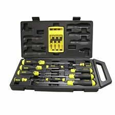 New Stanley 16 Piece Cushion Grip Screwdriver Set with Precision set