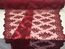 Embroidered Mesh Lace Fabric Burgundy Sequins Flower Dress - Bridal By The Yard