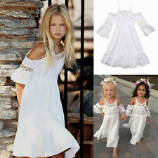 Beach Girls Princess Dress Kids Baby Party Wedding Pageant Lace Dresses Clothes