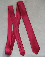 Mens Skinny Neck Tie RED WINE Silky Shiny Slim Everyday Office Party Wedding