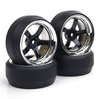 RC 4Pcs 1:10 Drift Car Tires&Wheel Rim 12mm Hex for HSP HPI On-Road model car