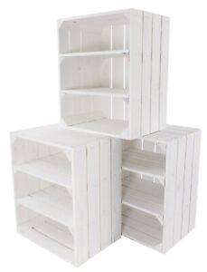 3 Super schöne weiße Holzkisten Regale mit zwei weißen Mittelbrettern 50x40x30cm