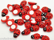 100 Self Adhesive Ladybird  Wooden Embelishments - Scrapbook - Crafting -Sewing