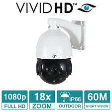 PTZ CCTV ZOOM CAMERA 1080P OUTDOOR 60M IR NIGHT VISION 18X OPTICAL ZOOM VIVID HD