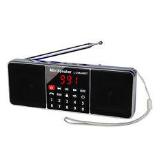 Blue Fm Stereo/Am Radio Receiver Bluetooth Multimedia Speaker Mp3 Player+Battery
