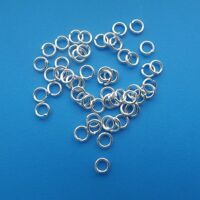 200 x 4mm Open Silver Plated Jump Rings  Round