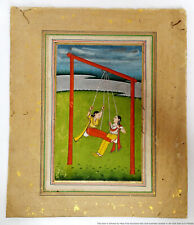 Mughal Indo Persian Miniature Painting Ladies On Swing