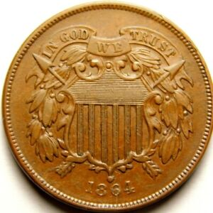 USA : 1864  Two Cents Piece AU Condition .  57-578