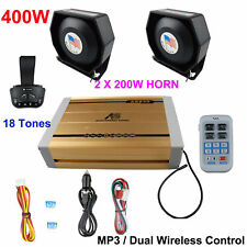 400W Speaker 18 Tone Police Warning Alarm Loud Horn Remote System Accessories