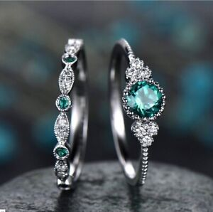 Tiny 925 Silver Emerald Sapphire Rings Set Women Wedding Jewelry Wholesale Gifts